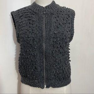 APT 9 wool blend zip front sweater vest rib neck M